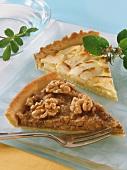 A piece of walnut tart and a piece of apple tart