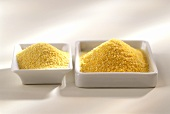Polenta meal in two white bowls