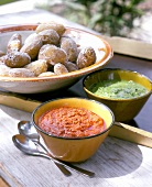 Salt crust potatoes with mojo sauces (Papas arrugadas con mojos)