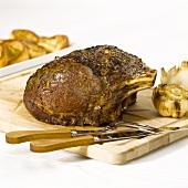Fried prime rib with garlic