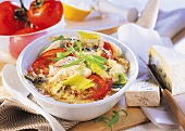 Pike-perch gratin with leeks and tomatoes