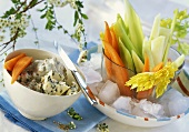 Vegetable sticks with blue cheese dip