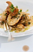 Lobster with parsley and ceps