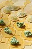 Making ravioli with ramsons (wild garlic) filling
