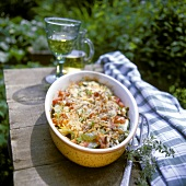 Provencal vegetable casserole with almond & cheese topping
