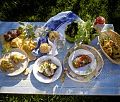 Summer buffet with sandwiches and puff pastries