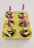 Barbecued mince and courgette kebabs