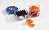 Genuine black caviare and trout roe (caviare substitute)