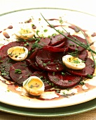 Beetroot salad with quail's eggs and balsamic dressing