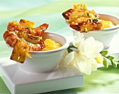 Barbecued shrimp kebabs with mango sauce