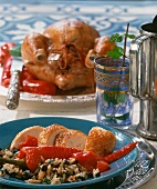 Chicken with Middle Eastern stuffing: rice, pine nuts, raisins
