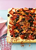 Tray-baked berry stracciatella cake