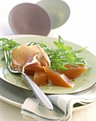 Ham and damson cheese with rocket