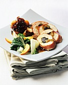 Chicken breast roulade with plum and apricot stuffing