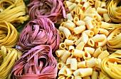 Tagliatelle, red fettuccine and short macaroni