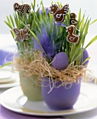 Easter gingerbreads in flowerpots with Easter decorations