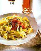 Pappardelle al pomodoro (Broad ribbon pasta with tomato sauce)