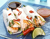 Rice paper rolls with shrimp & vegetable filling & Asian sauce