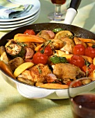 Mediterranean pan-cooked chicken and vegetable dish