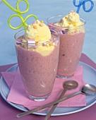 Strawberry smoothie with vanilla ice cream