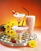 Strawberry-banana shake, strawberry Prosecco, strawberry squash