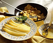 White asparagus with butter and Baden pancakes (Kratzete)
