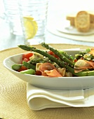 Green asparagus & tomato salad with cheese & Tyrolean ham
