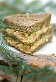Hiking food: wholemeal sandwich with carrot filling