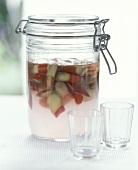 Vodka with rhubarb (a kind of rumtopf)