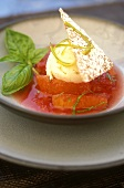 Citrus fruit soup with vanilla ice cream
