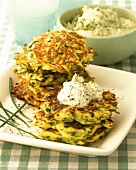 Courgette and potato cakes with herb creme fraiche
