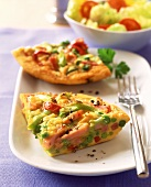 Vegetable omelette with ham