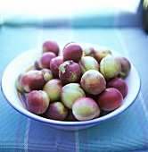 Greengages in a ceramic bowl