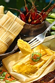 Tamales (maize porridge steamed in maize husk)