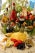 Ingredients for Cuscuz Paulista (corn pancakes with vegetables)
