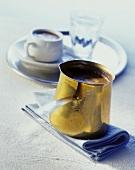 Pot of Greek coffee (Kafedaki)