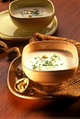 Chestnut soup with walnuts and chives