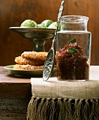 Red onion preserve in jar and celery cutlet