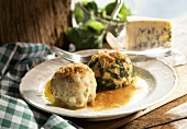 Canederli (cheese & spinach dumplings with buckwheat flour)