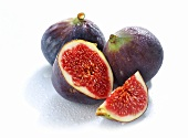 Three figs, one cut open