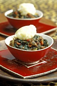 Fufu (mashed tubers from Africa) with lamb & spinach