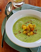 Courgette soup with potato croutons
