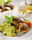 Veal rissoles with potato salad