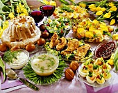 Polish Easter buffet with sweet and savoury dishes