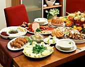 Laid table with Easter dishes (Poland)