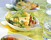 Spring vegetable gratin with herb sabayon