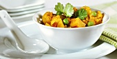 Indian cauliflower and potato curry with coriander