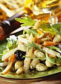 Asparagus salad with beans and rocket; white wine bottle
