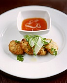 Sweetcorn and crabmeat cakes with Asian chili sauce