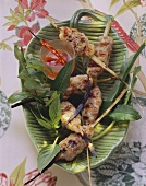 Grilled Asian style shrimp and minced pork kebabs